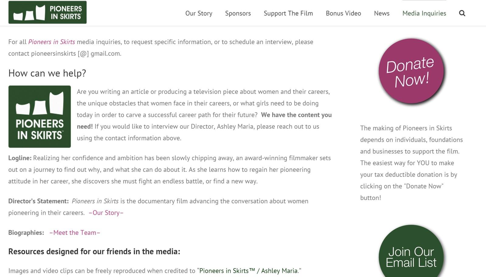 Pioneers in Skirts Media webpage