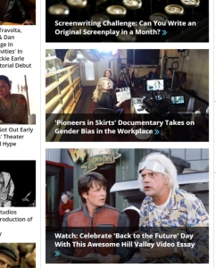 Snapshot of Indiewire front page