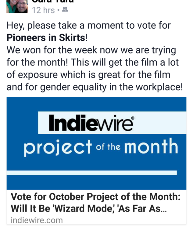 Indiewire Voting Quote for Pioneers in Skirts
