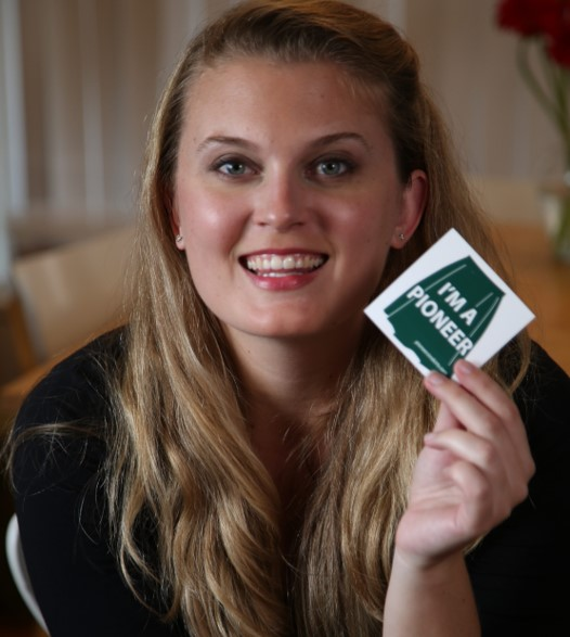 """Ashely Maria Holding """"I'm a Pioneer"""" Sticker"""